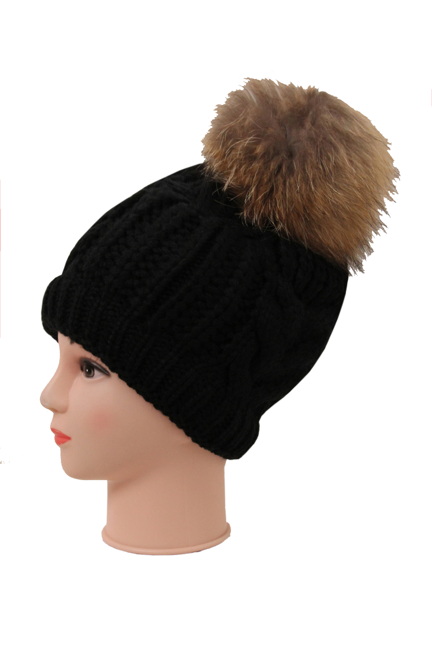 3b5b7a41a448b Real Fur Pom Pom Knit Winter Hat - 4 Colours - Buy Fashion Wholesale ...