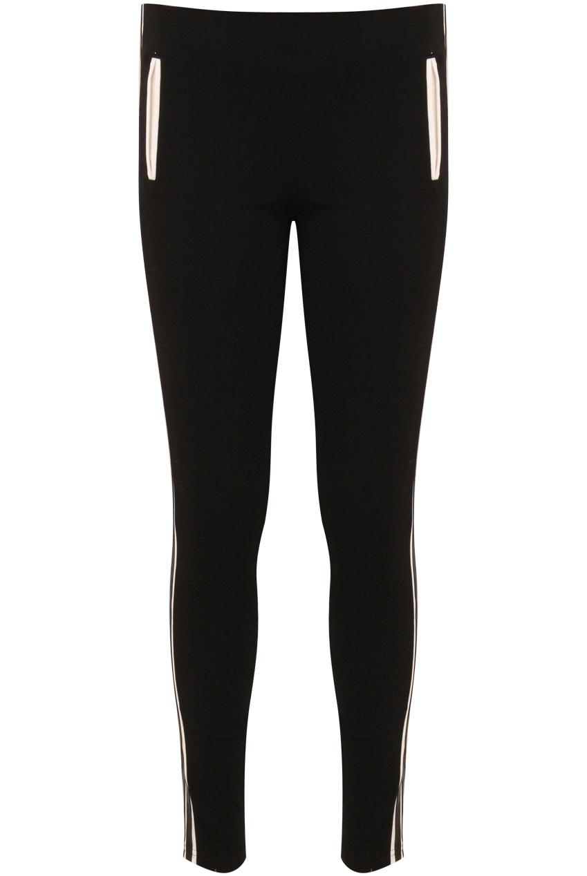 Black PVC Trim Stretch Leggings