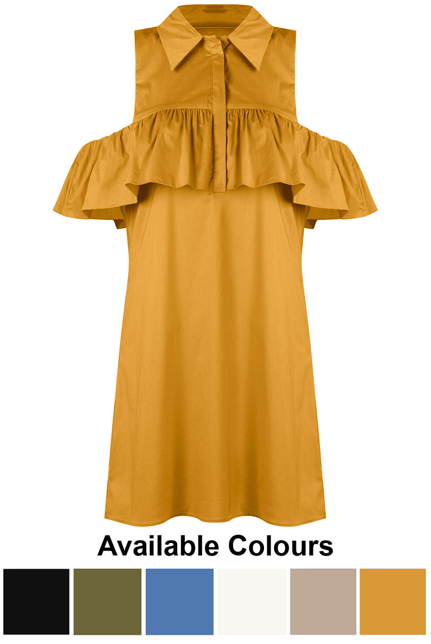 b953ad5d485 Frilled Cold Shoulder Poplin Shirt Dress - Buy Fashion Wholesale in The UK