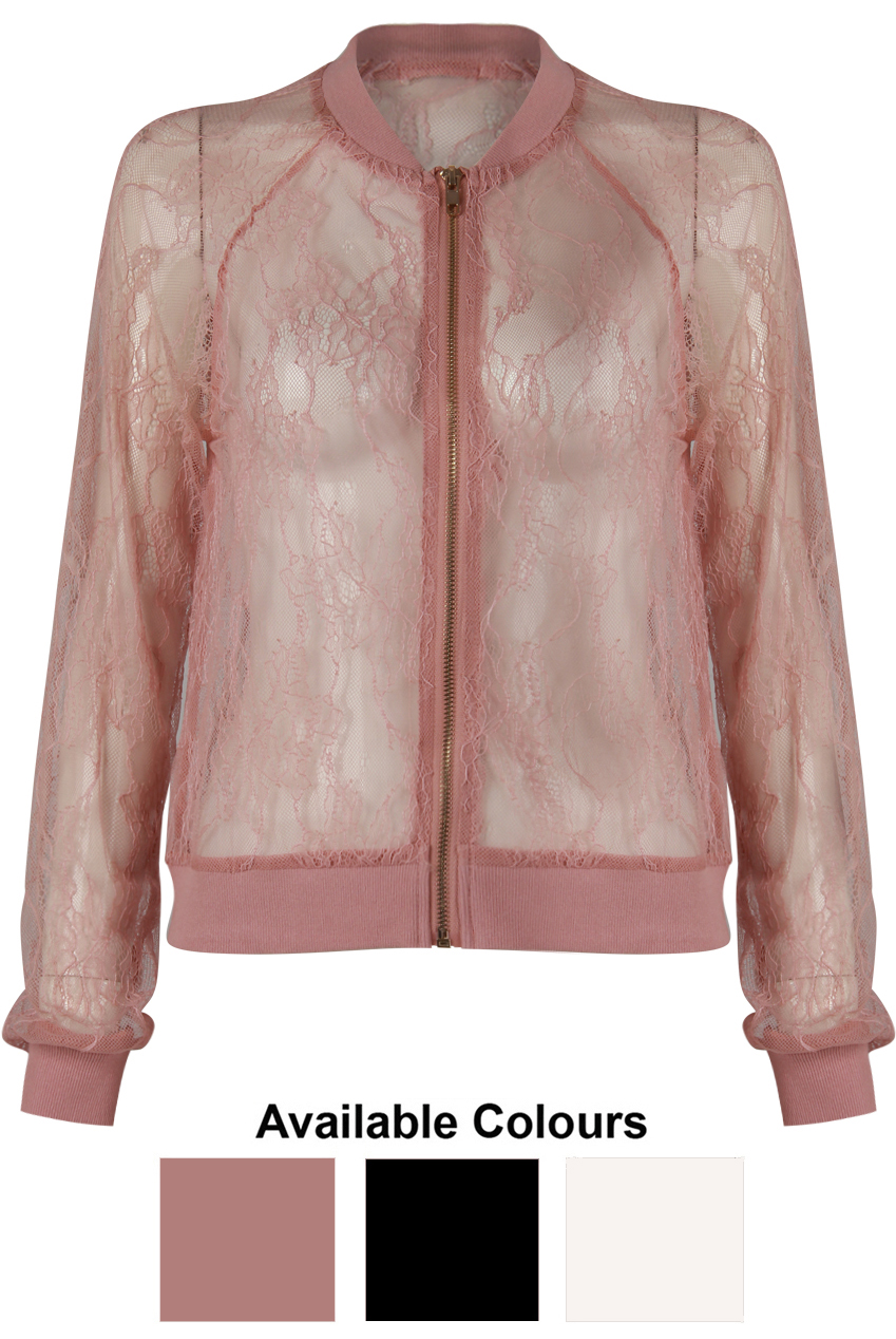 f7b2a9671 Sheer Lace Bomber Jackets - 3 Colours