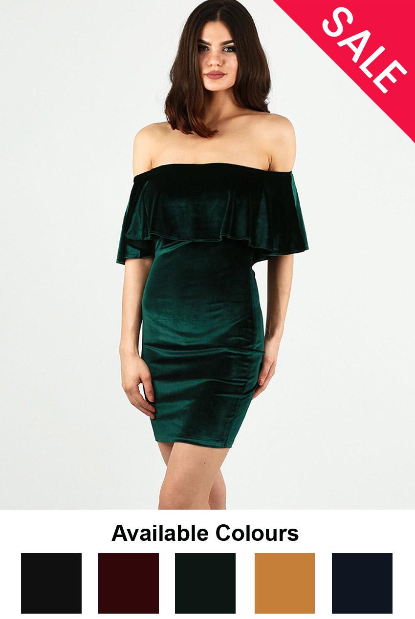 81cb94c8592d Velvet Textured Bardot Frill Bodycon Dress - 5 Colours - Buy Fashion  Wholesale in The UK