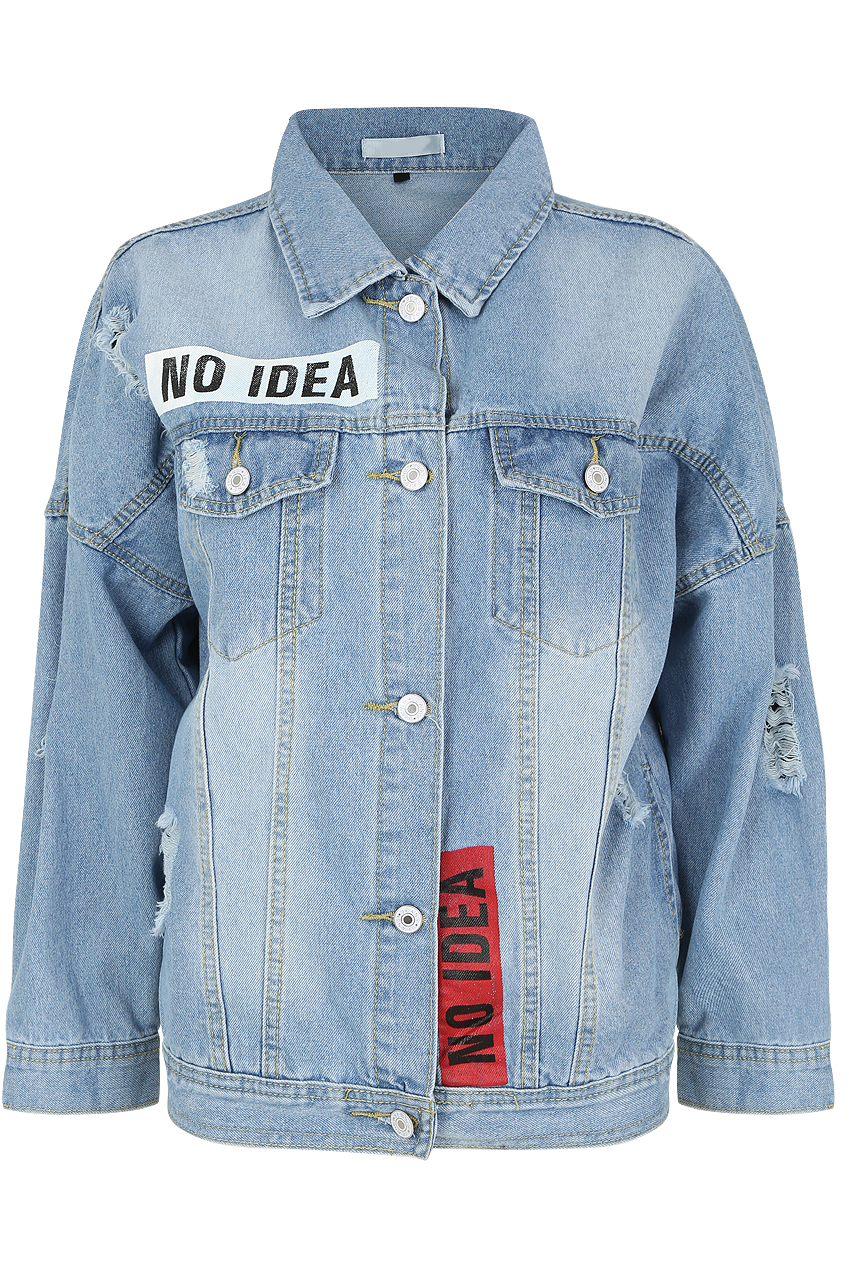 87c98729559  No Idea  Slogan Denim Jacket - Buy Fashion Wholesale in The UK