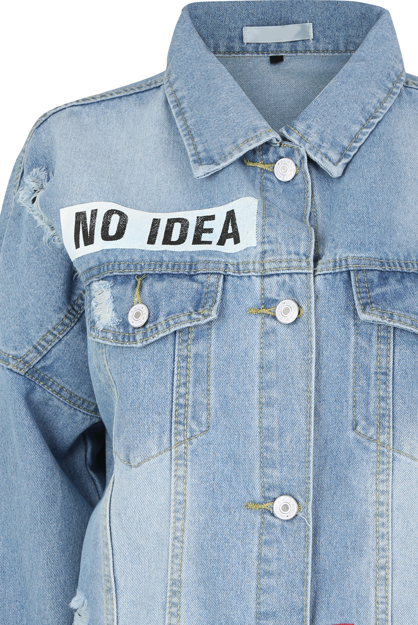 b990b8fcfd9 No Idea  Slogan Denim Jacket - Buy Fashion Wholesale in The UK