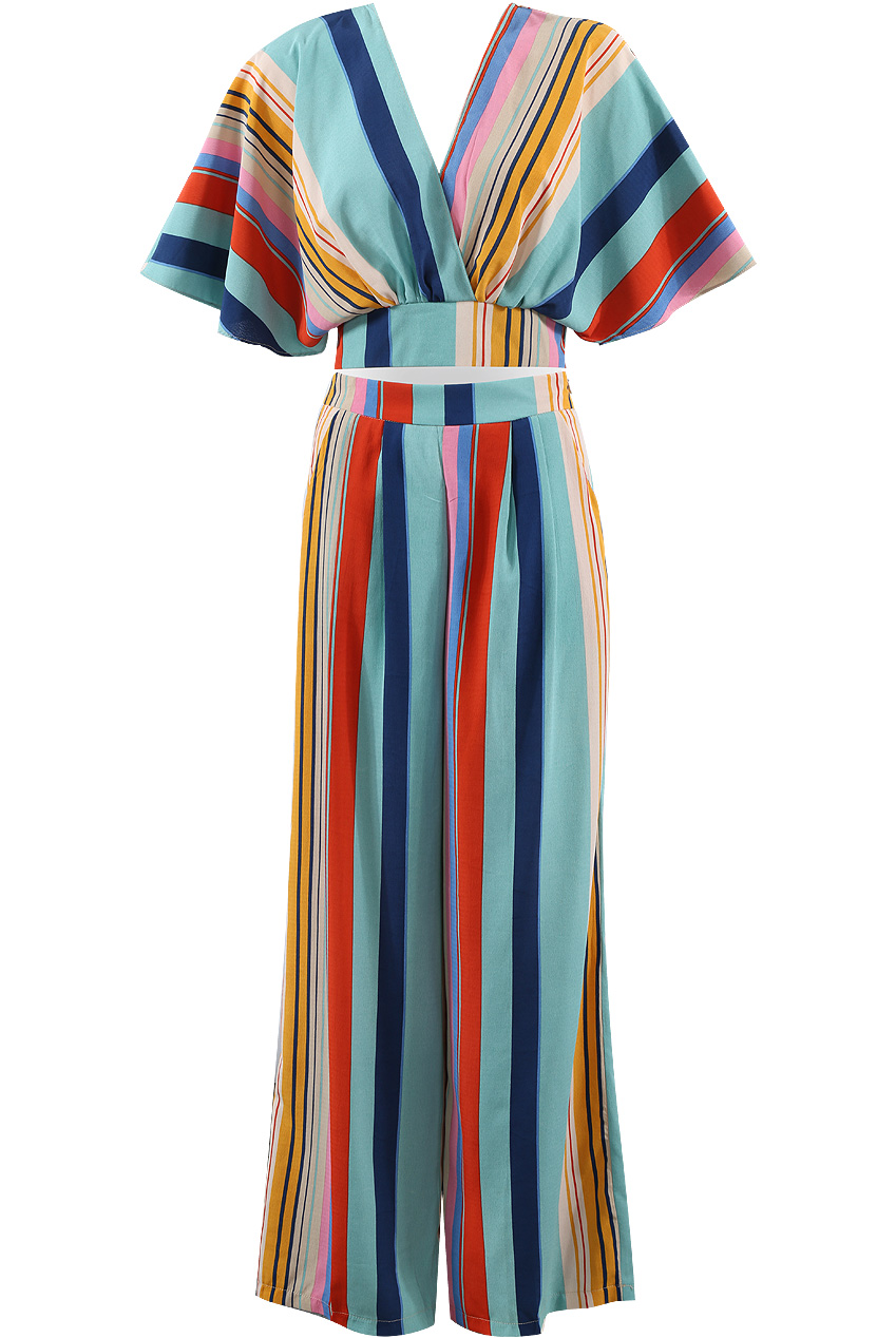 42bf26165cf8b6 Stripes Wrap Crop Top & Trouser Co-Ord - Buy Fashion Wholesale in The UK