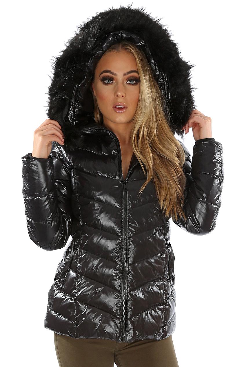 ba333715aa09 Shiny Faux Fur Hood Puffer Jacket - Buy Fashion Wholesale in The UK