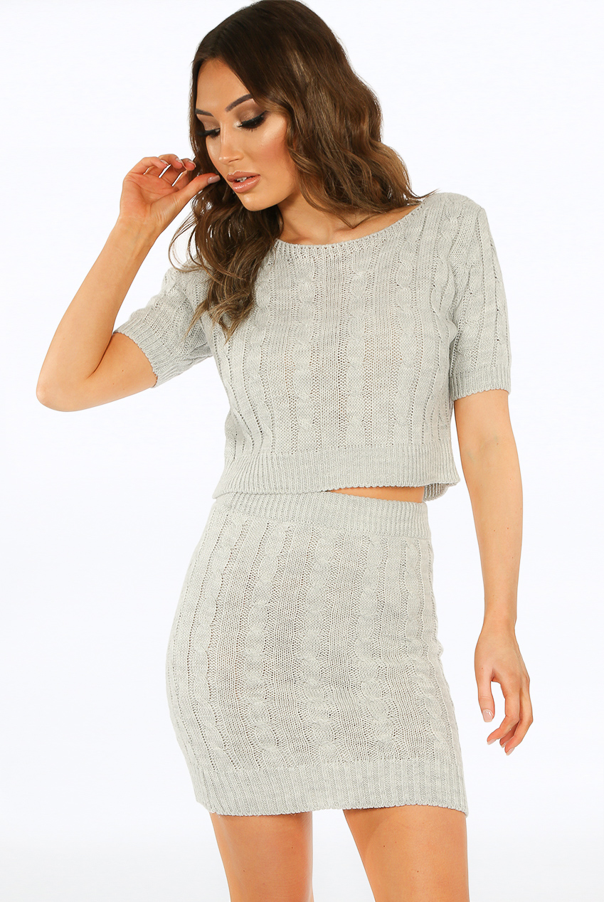 785b50eded Cable Knit Crop Top & Skirt Co-Ord - Buy Fashion Wholesale in The UK