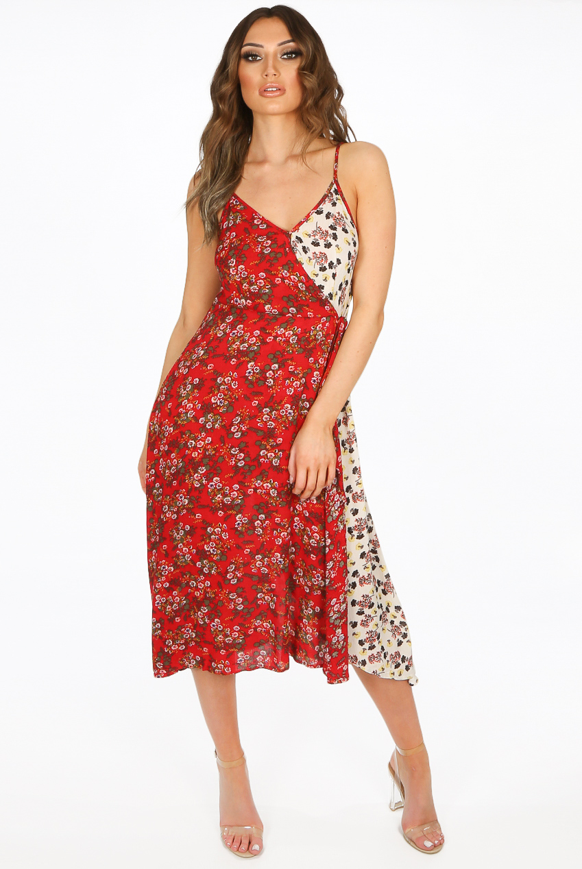 9ab5a3aa5a Contrast Floral Print,Wrap Up,Shift Dress - Buy Fashion Wholesale in The UK