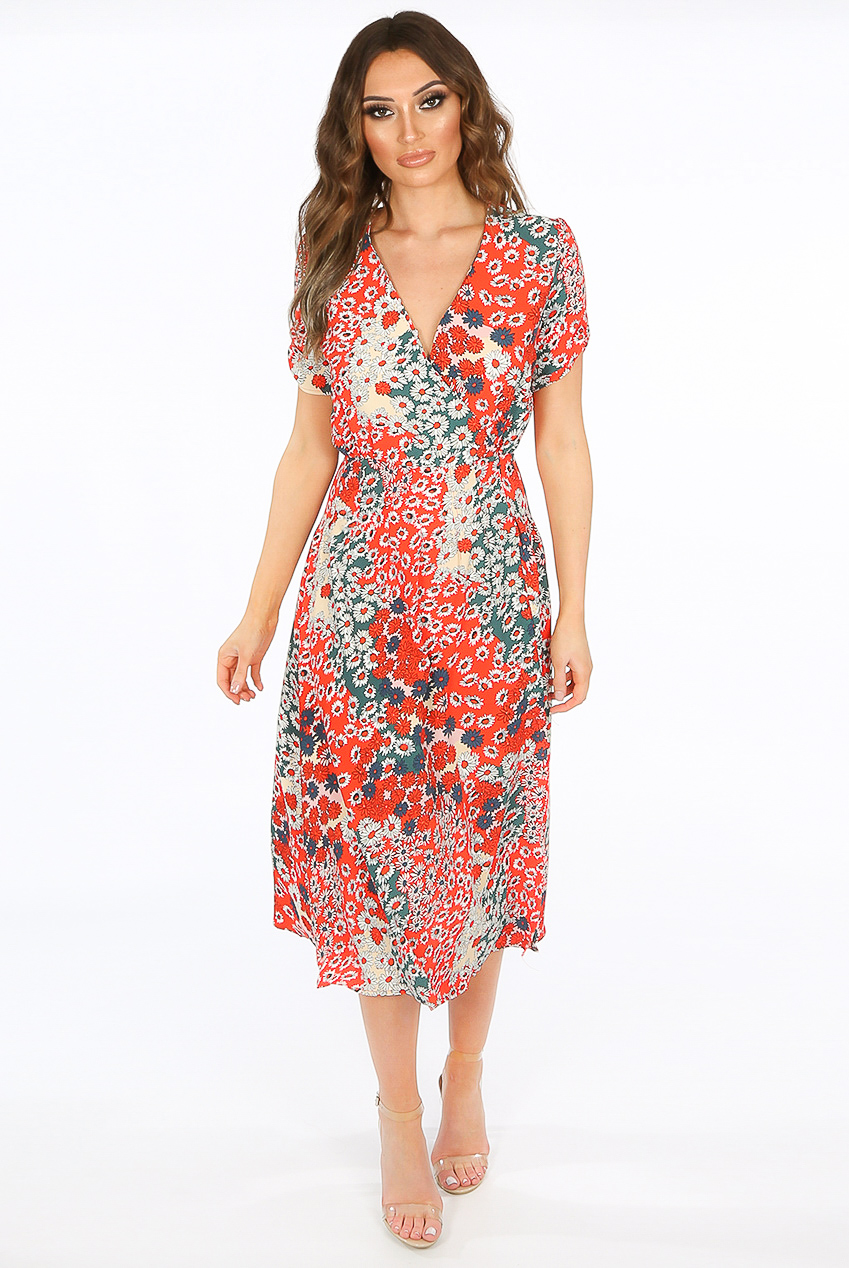 f531a3addb Floral Overlap Midi Dress - Buy Fashion Wholesale in The UK