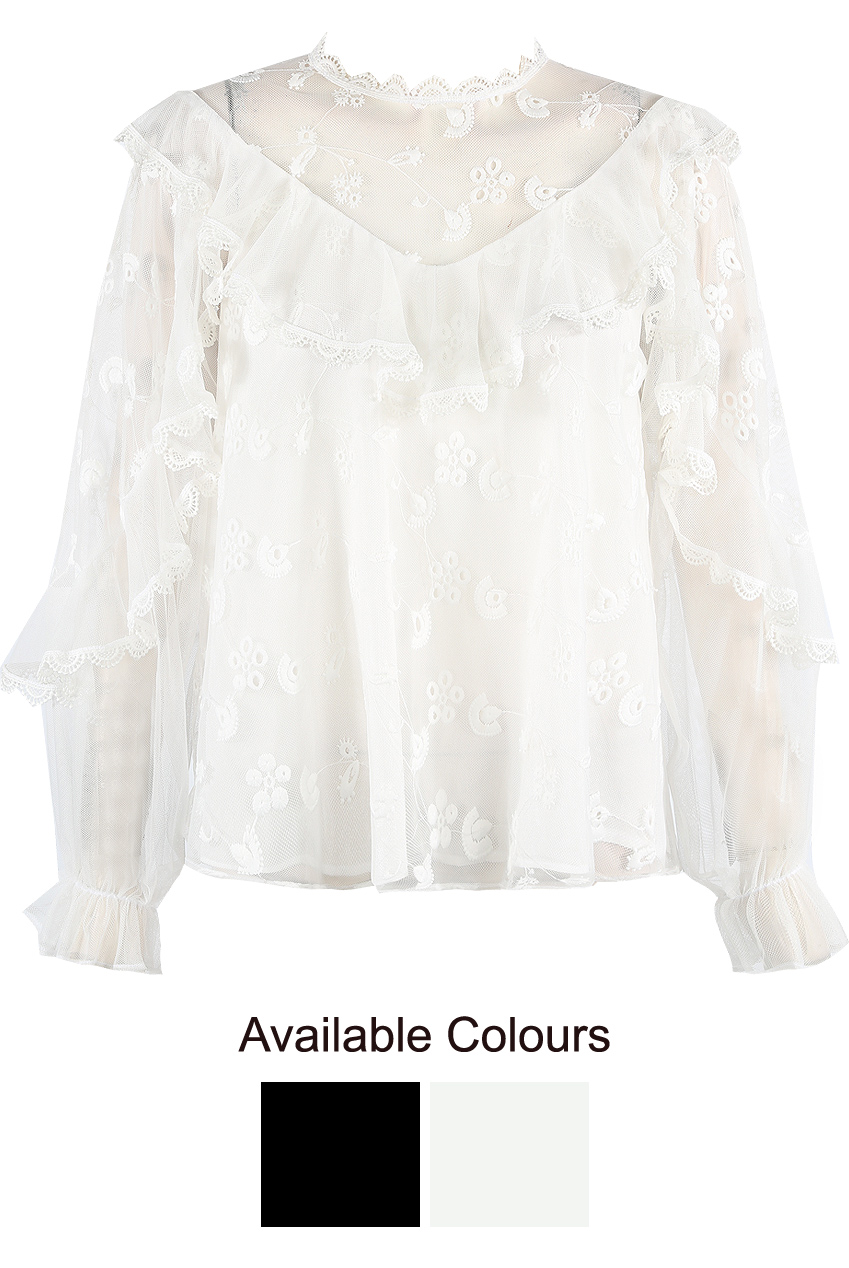 d1a0b0223a7 Broderie Anglaise Frill Mesh Blouse- Buy Fashion Wholesale in The UK