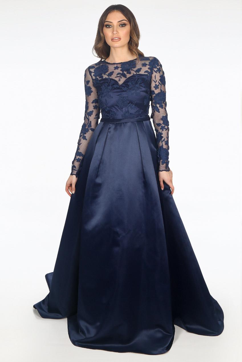 c5844a4fb7a Navy Blue Long Sleeve Lace Maxi Dress