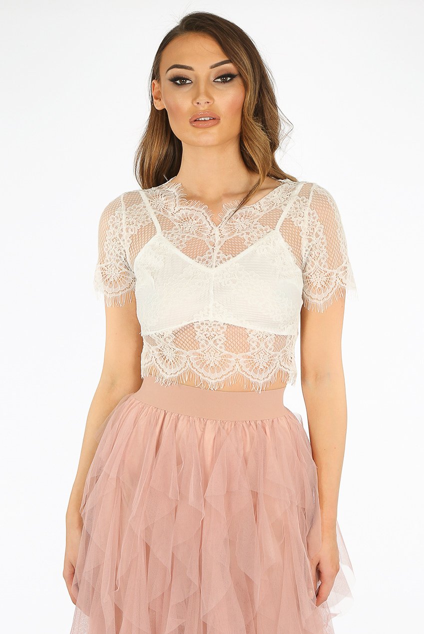 78eaa4fdd50 Scallop Lace Overlay Crop Top - Buy Fashion Wholesale in The UK