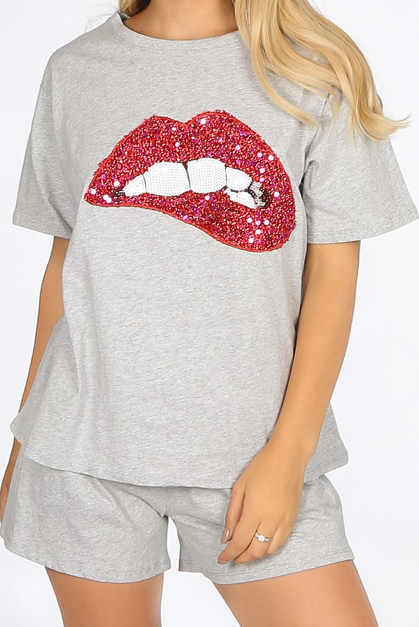 14bd70f3ba20 Sequin Lips Trim Tee & Shorts Loungewear - Buy Fashion Wholesale in ...