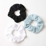 Afends Erin Waffle Scrunchies 3 Pack in Multi Black White Blue