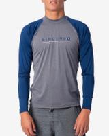 Rip Curl Shockwave Relaxed Long Sleeve Rashvest Mens in Grey Blue