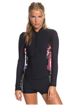 Roxy 1.5MM Popsurf FZ Long Sleeve Springsuit Ladies in Black Black