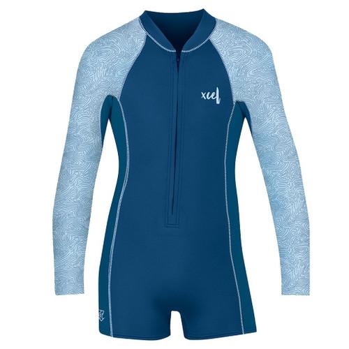 Xcel 2MM Axis Long Sleeve FZ Springsuit Girls in Blue Map