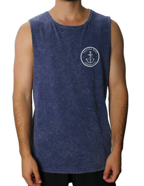 Trigger Bros East Coast Stone Wash Muscle Mens in Blue