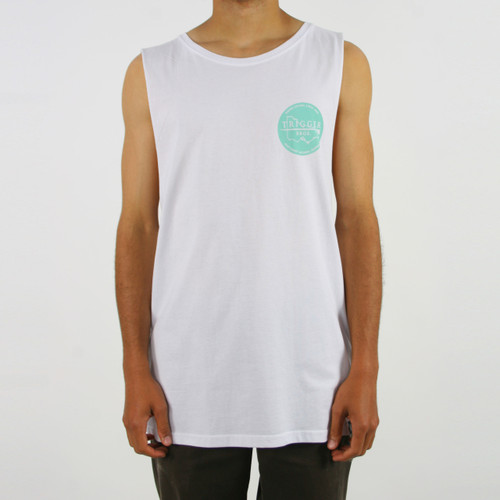 Trigger Bros East Coast Singlet Mens in White Mint