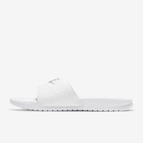 Nike Benassi JDI Slides Ladies in White Metallic Silver