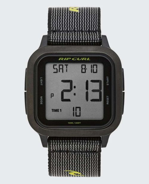 Rip Curl Next Digital Webbing Watch in Black Lime
