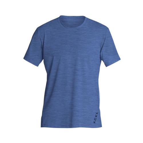 Xcel Heathered Ventx Short Sleeve Rashvest Mens in Classic Blue