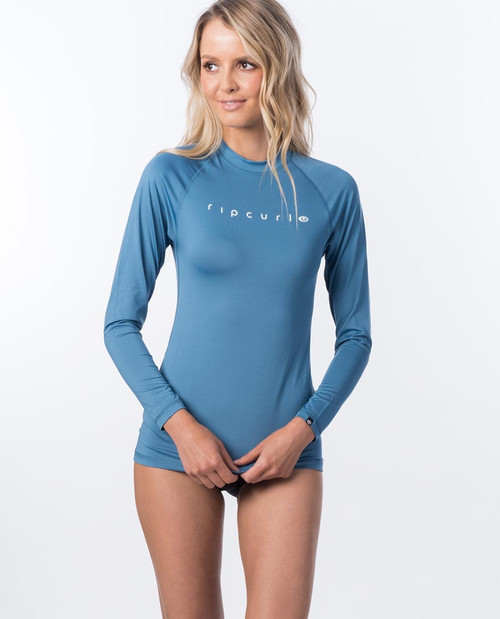 Rip Curl Sunny Rays Relaxed Long Sleeve Rash Vest Ladies in Denim Blue