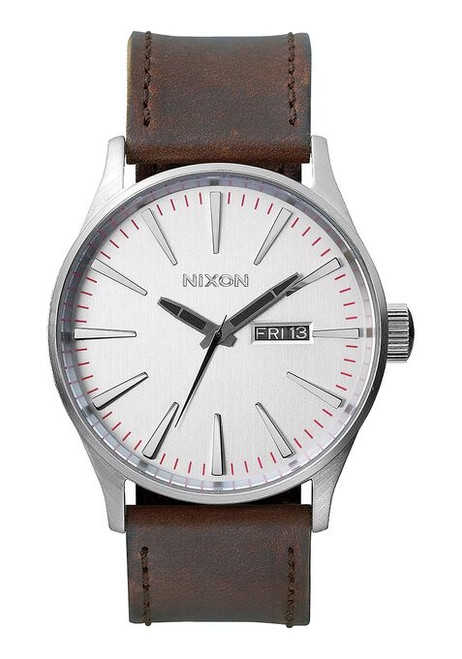 Nixon Sentry Leather Watch Mens in Silver Brown