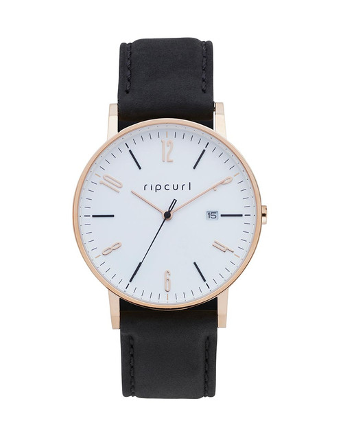 Rip Curl Latch Rose Gold Leather Watch Ladies in Black