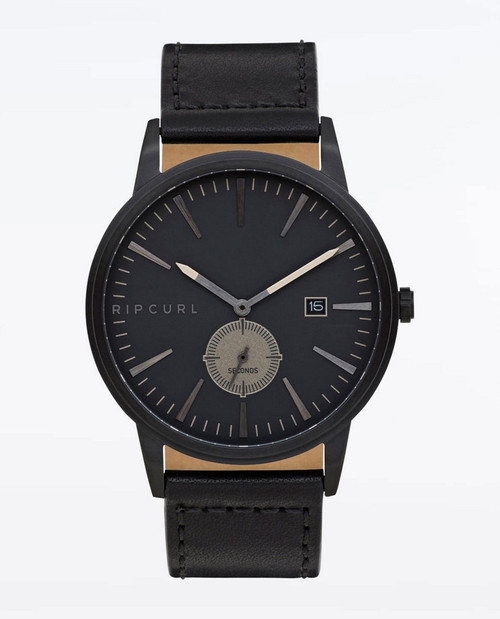 Rip Curl Vision Midnight Leather Watch Mens in Midnight