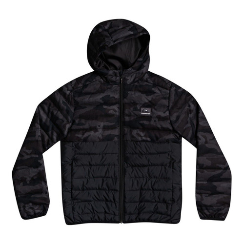 Quiksilver Scaly Mix Jacket Boys in Black Camo 60 40 In Dub