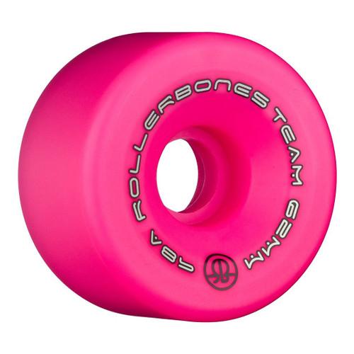 Rollerbones Team Logo 62MM x 101A 8 Pack Wheels in Pink