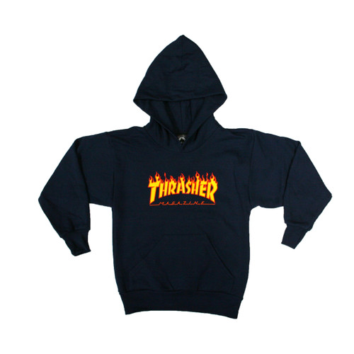 Thrasher Flame Hoodie Youth in Navy