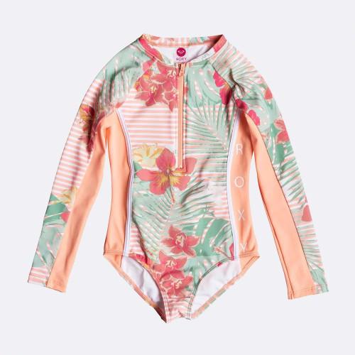 Roxy Lush Florals LS Onesie Swim Girls in Souffle Stripe