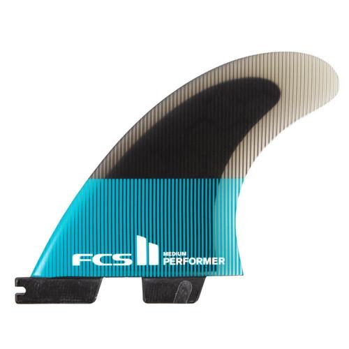 FCS II Performer PC Medium Thruster Fin Set in Teal Black