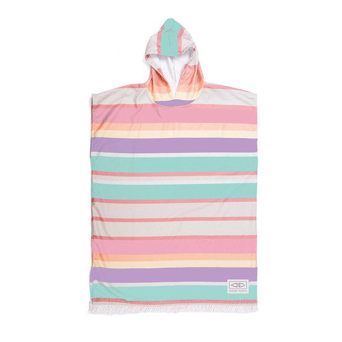 Ocean And Earth Sunkissed Hooded Poncho Youth in Multi Stripe
