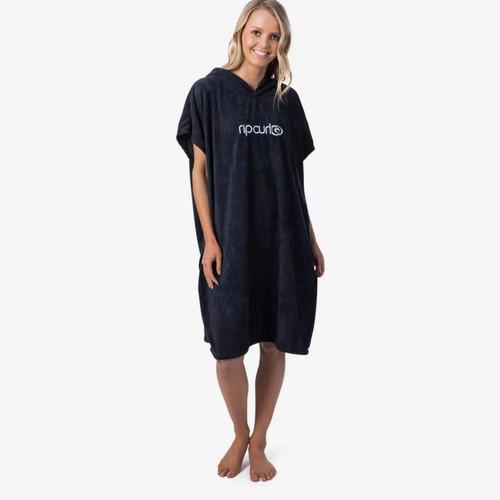 Rip Curl Surf Essential Hooded Towel Womens in Black