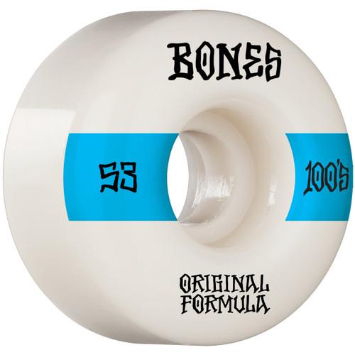 Bones 100s V4 53MM Skate Wheels in White