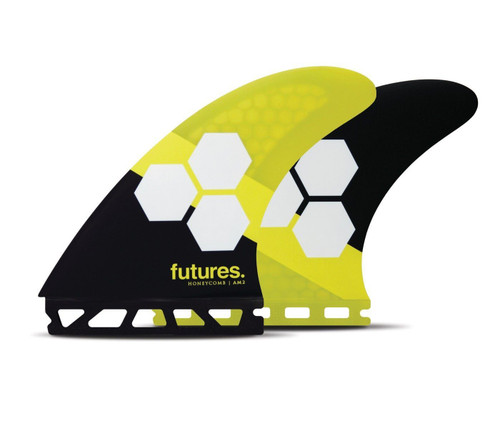 Futures AM2 Honeycomb Large Thruster Fin Set in Yellow Black