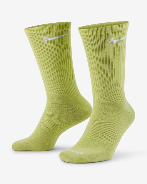 Nike Everyday Plus Lightweight Training Crew Sock 3 Pack in Multi Lime Army White
