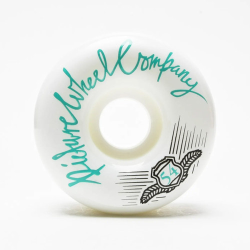 Picture Wheel Co Pop 54MM Skateboard Wheels in Teal on White