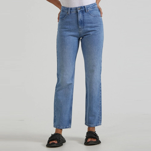 Afends Violet Hemp Denim Bootleg Jean Womens in Worn Blue