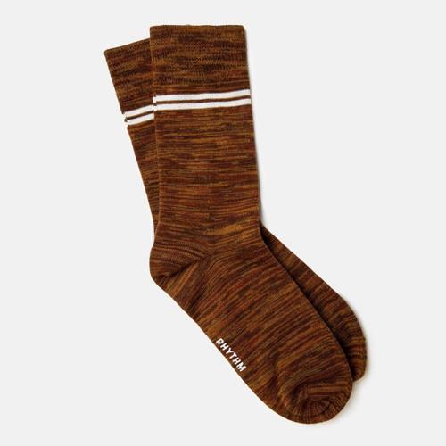 Rhythm Staple Sock Mens in Tobacco