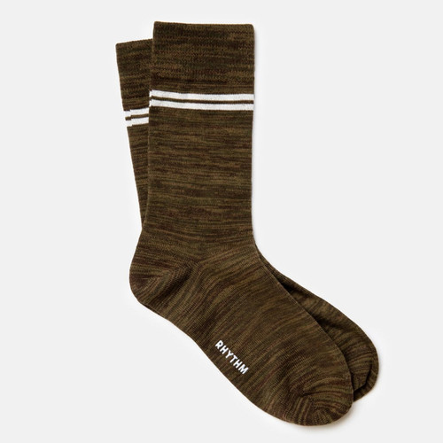 Rhythm Staple Sock Mens in Olive