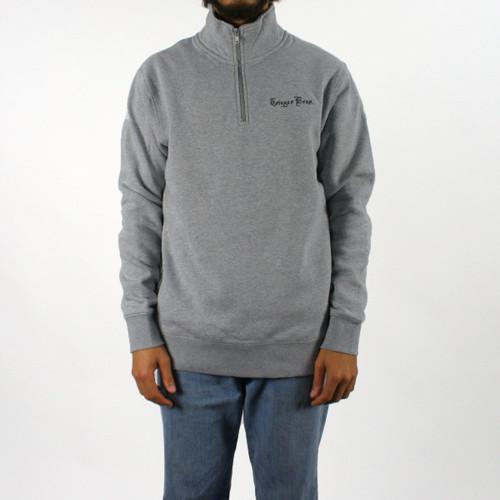 Trigger Bros Embroidered Half Zip Fleece Mens in Grey Marle