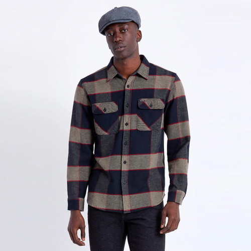 Brixton Bowery Long Sleeve Flannel Shirt Mens in Heather Grey Charcoal