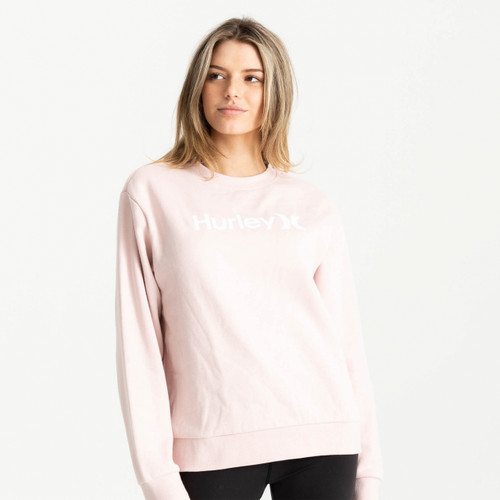 Hurley One And Only Oversized Crew Womens in Light Coral Almond