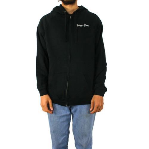 Trigger Bros Embroidered LW Zip Hoodie Mens in Black
