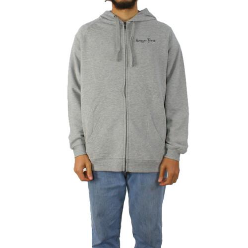 Trigger Bros Embroidered LW Zip Hoodie Mens in Grey Marle