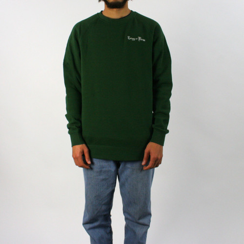 Trigger Bros Embroidered Fleece Crew Mens in Forest Green
