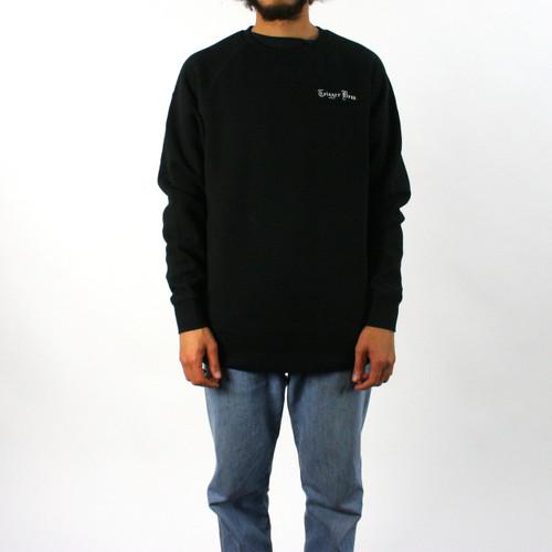 Trigger Bros Embroidered Fleece Crew Mens in Black